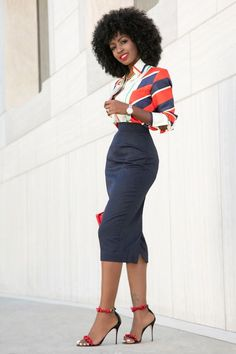 Scarf Print Shirt + Pencil Midi Skirt