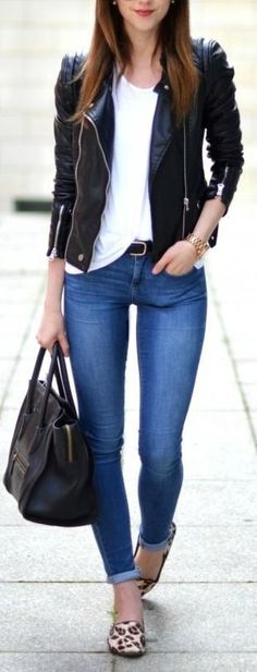 leather jacket, white top, cuffed skinny jeans, leopard flats