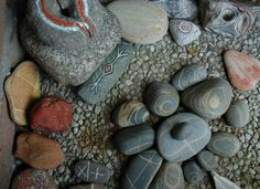 painted & carved stones