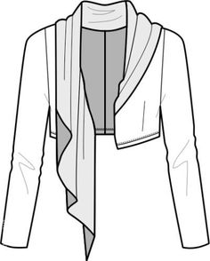 attached scarf/collar Fashion Design Template, Fashion Design Sketches, Pattern Fashion, Pattern Draping, Garment District, Techniques Couture, Fashion Flats, Refashion, Dressmaking