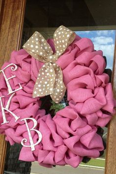 Pink Burlap Monogram Wreath - Perfect for Baby Shower, nursery or hospital door