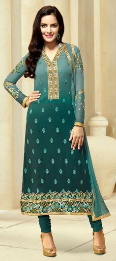 445393: Green color family stitched Bollywood Salwar Kameez .