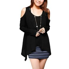 Allegra K Ladies High Low Hem Long Sleeves Trendy Autumn Blouse Black XS Allegra K. $11.36