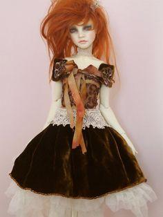 Ooak BJD SD doll outfit silk velvet beading hand dyed silk ribbon ruffled tulle Irish crochet lace Lily Rose