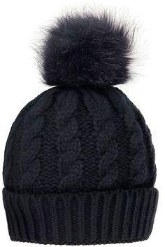 bc4e20fe274 Simplicity Black Cable-Knit Faux-Fur Pom-Pom Beanie - Women Faux Fur