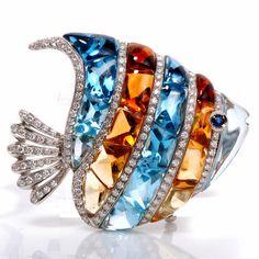 GARAVELLI 64.00ct Diamond Topaz Citrine Fish Pin Brooch /5499