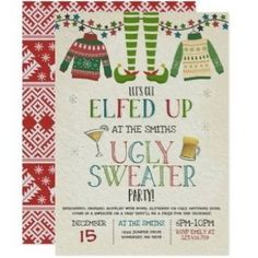 Christmas Bachelorette Party, Tacky Christmas Party, Christmas Birthday Party, One Year Birthday, Christmas Invitations, Christmas Party Decorations, Kids Christmas, Parties Decorations, Parties Food