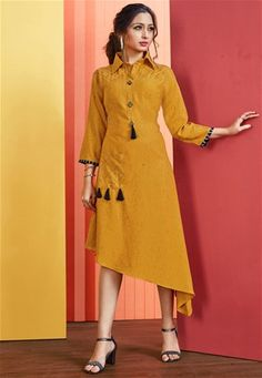 Asymmetric Patterned Readymade Kurti Is Here In Musturd Yellow Color Fabricated On Rayon Slub. Its Fabric Is Soft Towards Skin And Ensures Superb Comfort All Day Long. Angrakha Style, Party Wear Kurtis, Kurti Collection, One Piece Outfit, Embroidered Clothes, Western Dresses, Indian Ethnic Wear, Asymmetrical Dress, Blouse Designs
