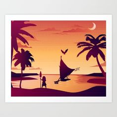 Moana boat sunset disney princess hawaii samoa pacific islander art work for sale