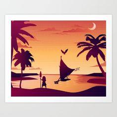 Moana boat sunset disney princess hawaii samoa pacific islander art work for sale