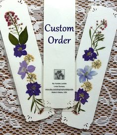 CUSTOM ORDER BOOKMARKS  Pressed Flower Bookmarks by MyHumbleJumble