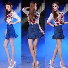 summer new denim trumpet high waist jeans skirt