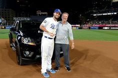 SAN DIEGO, CA - JULY 12: American League All-Star Eric Hosmer #35 of the Kansas City Royals poses for a photo with his dad after winning the MVP award after the American League defeated the National League 4-2 in the 2016 MLB All-Star Game at Petco Park on Tuesday, July 12, 2016 in San Diego, California. (Photo by LG Patterson/MLB Photos via Getty Images)