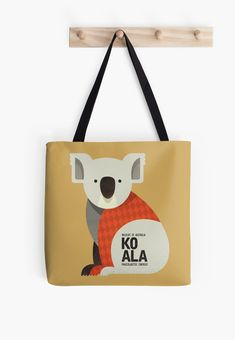 Koala // Tote Bag // This is part of a Wildlife of Australia series which also includes Emu, Wombat, Kangaroo and Platypus // Nursery Animal, Australian Art Print, Australian Animal, Animal Fashion, Australian Wildlife, Animals Nursery, Kangaroo Illustration, Retro Animal, Mid-century Animal, Animal Illustration, Australian Art, Quirky Tote Bag, Australian Kids Poster, Kids Art Print, Nursery Art Print, Apparel, Fashion wear, Animal Bag
