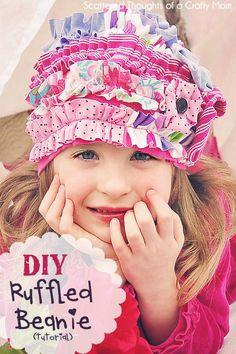 DIY Ruffle : DIY Ruffled Beanie Hat Tutorial  : DIY Hat DIY Refashion  Visit & Like our Facebook page! https://www.facebook.com/pages/Rustic-Farmhouse-Decor/636679889706127