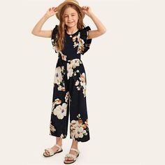 Check out this Girls Ruffle Armhole Floral Wide Leg Jumpsuit on Shein and explore more to meet your fashion needs! Cute Girl Outfits, Kids Outfits Girls, Girls Dresses, Jumpsuits For Girls, Long Jumpsuits, Tween Fashion, Fashion Outfits, Ruffle Jumpsuit, Baby Dress
