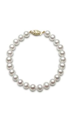 14K Yellow Gold 6.5-7.0mm AAA Quality White Cultured Freshwater Pearl Strand Bracelet, 7 Inch * You can find out more details at the link of the image.