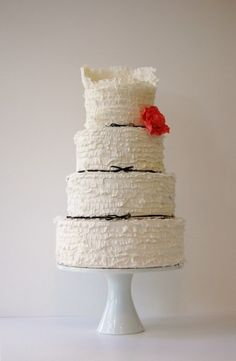 Stunning black and white ruffle cake, very chic and sophisticated. Set over three round tiers a black and white striped ruffle cake with c. Amazing Wedding Cakes, White Wedding Cakes, Amazing Cakes, Pretty Cakes, Beautiful Cakes, Simply Beautiful, Ruffle Cake, Ruffles, Dream Cake