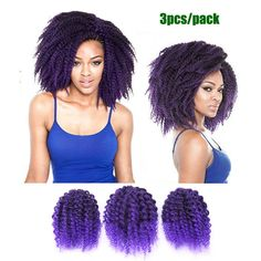 SHANGKE 3 Pieces Ombre Colored Braid Hair Extensions Ombre Black And Purple Hair Pieces Black Women Hairstyles Natural Curly Fake Hair PURPLE >>> Learn more by visiting the image link. (This is an affiliate link) Black Women Hairstyles, Bob Hairstyles, Braided Hairstyles, Synthetic Hair Extensions, Braid In Hair Extensions, Jamaican Bounce, Crochet Braids Marley Hair, Colored Braids, Ombre Color