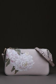 Peony Print Leather Shoulder Bag ==