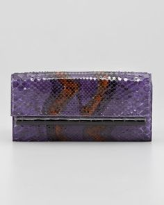 Python Front-Flap Crocodile Bar Clutch Bag, Purple by Nancy Gonzalez at Bergdorf Goodman.