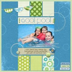 summer scrapbook page layouts | Summer Pool scrapbook page layout #ScrapbookFAQs