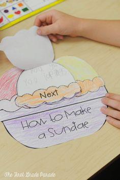 The First Grade Parade: Ice Cream, Graduation, & Summer's Almost Here! Kindergarten Language Arts, Kindergarten Writing, Teaching Writing, Writing Activities, Literacy, First Grade Writing, Teaching First Grade, First Grade Classroom, Procedural Writing