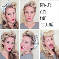 pin up hairstyle tutorial - victory rolls vintage pin up hairstyle 40 50 s, pin up hairstyles tutorial foto, pin up glam voluminous hair tutorial, 22 best images about simple clean and, retro hairstyle tutorials Rockabilly Hair Tutorials, Hairstyle Tutorials, Retro Hairstyles, Wedding Hairstyles, Pin Up Hairstyles, Wedding Updo, Ballroom Hair, Roll Hairstyle, Up Girl