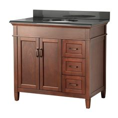Ashburn 37 in. W x 22 in. D Vanity in Mahogany with Right Drawers with Colorpoint Vanity Top in Black-ASGACB3722DR at The Home Depot