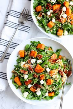 Green Valley Kitchen - Roasted sweet potato and quinoa salad - a warm, winter salad featuring roasted sweet potatoes, quinoa, peppery arugula, crunchy pecans and salty feta.