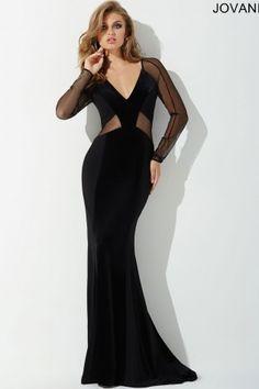 2bd8447d359 Black Fitted Velvet Panel Dress 23446. Ball DressesFitted ...