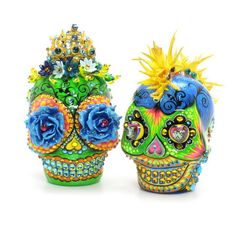 Skull Cake Toppers Day of the Dead Skulls Dancing Queen Gothic Wedding Theme 00105  www.goodiemud.com