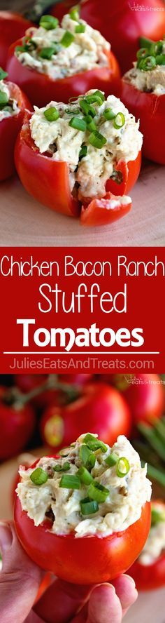 Bacon Ranch Chicken Salad Stuffed Tomatoes Recipe ~ Plump, Juicy Tomatoes Stuffed with a Delicious Chicken Bacon Ranch Salad! The Perfect Healthy, Low Carb Recipe for Summer! #BushelBoyTomatoes #ad