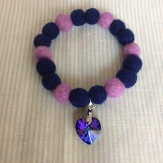 Needle felted navy blue and purple stretch bracelet with Swarovski crystal by SweetPeaDolls