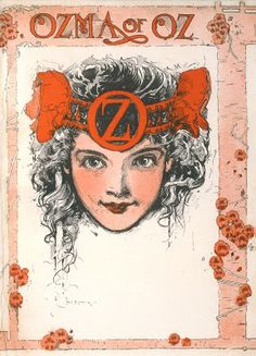 A lovely portrait of Ozma here in the endpaper from The Emerald City of Oz (1910). This is another of those iconic illustrations that defines the character as much as Baum's text ever did. ~Hungry Tiger Tales  (I remember copying this drawing over and over in different mediums. More then three decades later, I still like this Ozma the best!)