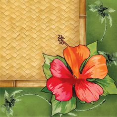 """Bamboo Weave Luau Lunch Napkins (16) Includes (16) Bamboo Weave Luau lunch napkins, each 3-ply, paper napkin measures approximately 6.5"""" x 6.5"""". Weight (lbs) 0.17 Length (inches) 6.5 Width (inches) 6."""