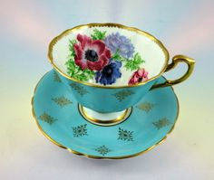 Striking Anemones with Light Blue Gold Exterior Paragon Tea Cup and Saucer Set | eBay