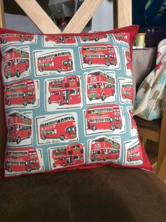 Cath Kidston London Bus cushion cover by PatchworkProjects on Etsy
