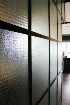 As well as the ribbed or reeded glass I love the original wire embedded safety glass - less elegant though, more Brooklyn Modern Glass Wall Design, Glass Partition Wall, Reeded Glass, Wired Glass, Clear Glass, Safety Glass, Steel Doors, Wood Doors, Glass Texture