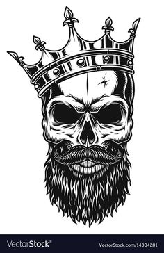 Illustration about Illustration of black and white skull in crown with beard isolated on white background. Illustration of magic, banner, evil - 92486212 Crown Tattoo Men, Crown Tattoo Design, Skull Tattoo Design, Skull Tattoos, Body Art Tattoos, Sleeve Tattoos, Tattoo Designs, Skull Design, Shirt Designs