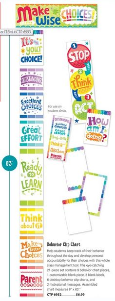 The Painted Palette Behavior Clip Chart Mini Bulletin Board set is perfect to help with classroom management. Help students keep track of their behavior throughout the day and develop personal accountability for their choices with this whole class management tool.
