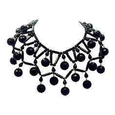 Pre-Owned Black Beaded Bib Necklace ($299) ❤ liked on Polyvore featuring jewelry, necklaces, black, bead jewellery, beaded jewelry, beading necklaces, plastic necklace and bead necklace