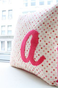Monogram pillow I like the idea of using lower case letters:)