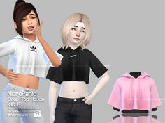 Crop Top Hoodie (KIDS) for The sims 4