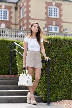 button front skirt with white tee