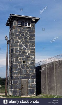 Watch Tower And Barbed Wire Fence Around The Old Prison, Robben ...