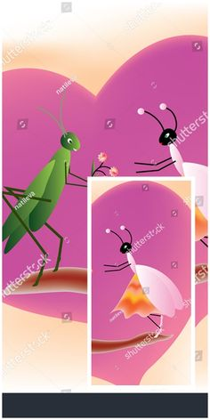 #Cricket offering flowers to a queen #ant on a #purple heart shape background - useful for #valentinesday #cards #kids #books