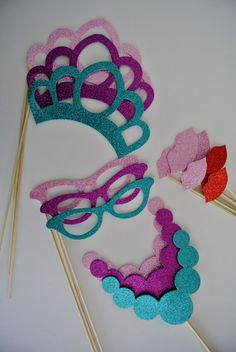 Princess Party Props 17 PC  Wedding Photo Booth Party Props Special Events  Vintage Glasses and Lips on Etsy, $17.99