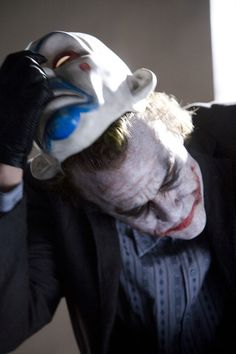 The Joker Dark Knight Movie Removing Clown Mask Gallery Print