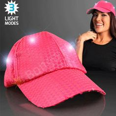 BRIGHT PINK SEQUIN LED BASEBALL CAP - Bongo Flashers Clothing Logo 2b2df63c39e8